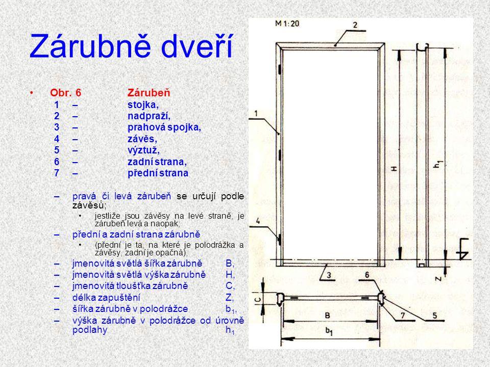 Zárubně dveří Obr. 6 Zárubeň 1 – stojka, 2 – nadpraží,