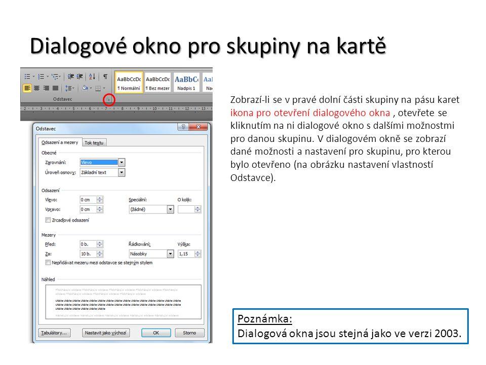 Dialogové okno pro skupiny na kartě
