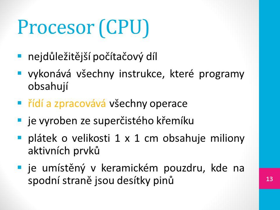 Procesor (CPU) nejdůležitější počítačový díl