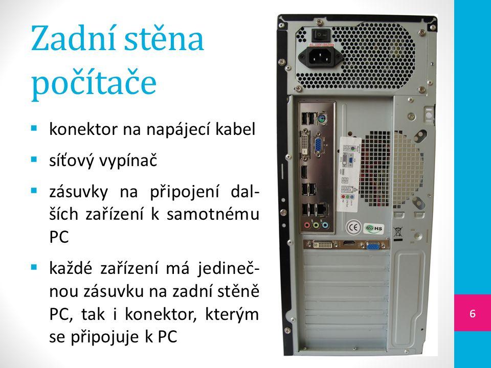 Zadní stěna počítače konektor na napájecí kabel síťový vypínač