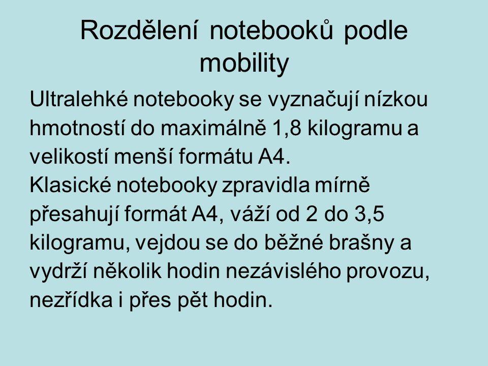 Rozdělení notebooků podle mobility