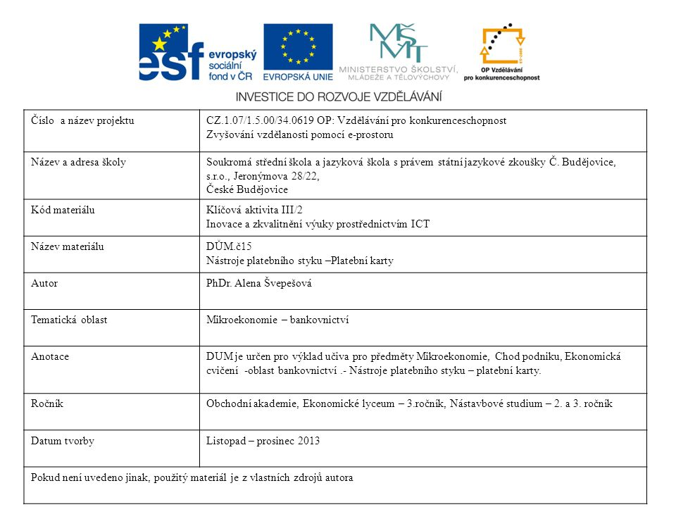 Číslo a název projektu CZ.1.07/1.5.00/34.0619 OP: Vzdělávání pro konkurenceschopnost. Zvyšování vzdělanosti pomocí e-prostoru.