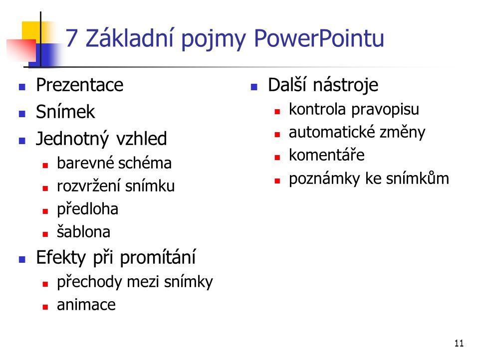 7 Základní pojmy PowerPointu