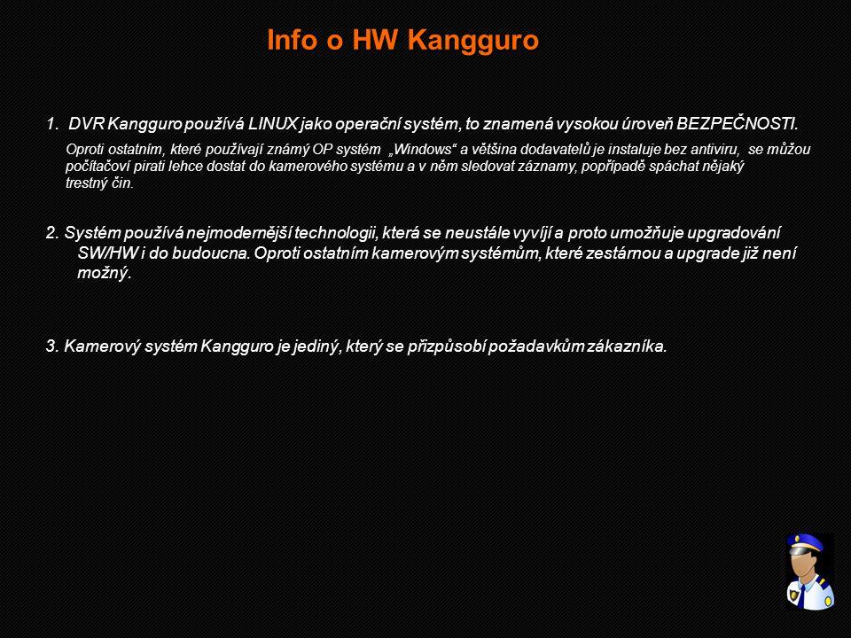 Info o HW Kangguro 1. DVR Kangguro používá LINUX jako operační systém, to znamená vysokou úroveň BEZPEČNOSTI.