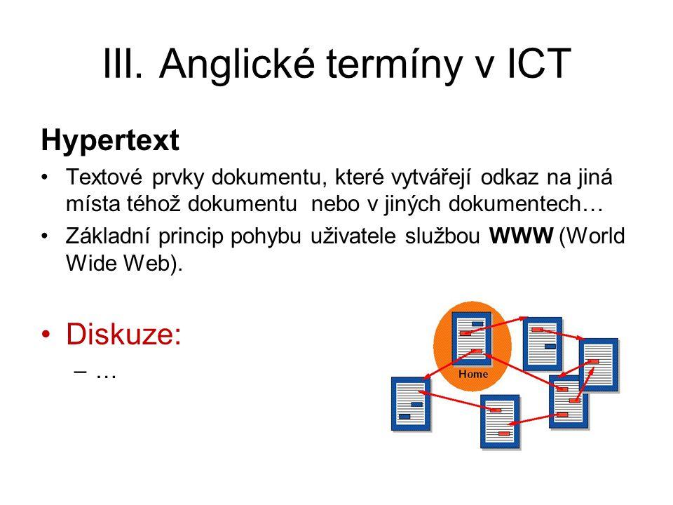 III. Anglické termíny v ICT