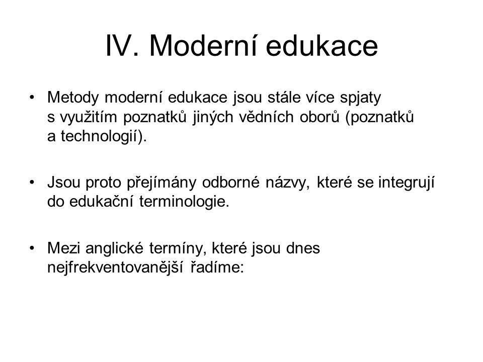 IV. Moderní edukace Metody moderní edukace jsou stále více spjaty s využitím poznatků jiných vědních oborů (poznatků a technologií).