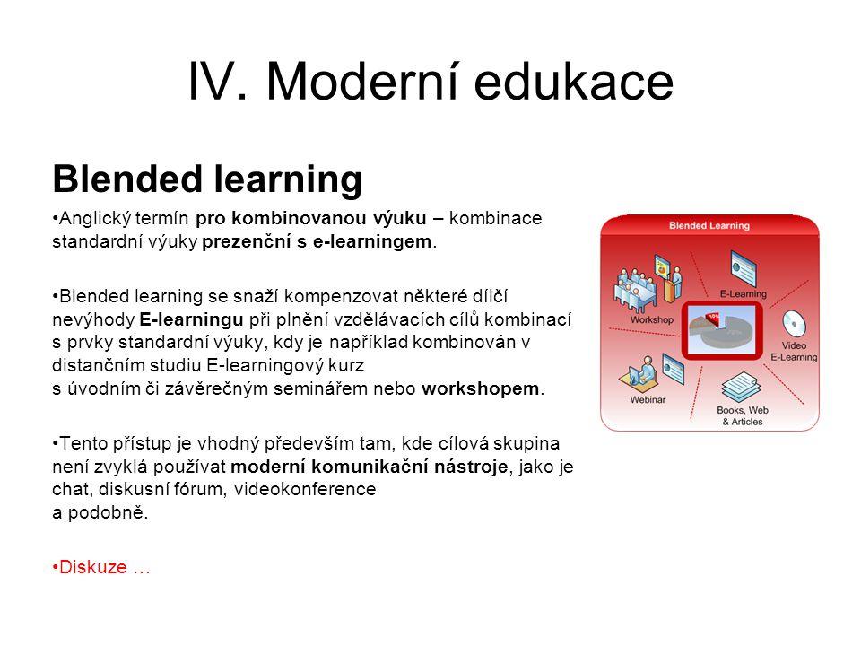 IV. Moderní edukace Blended learning