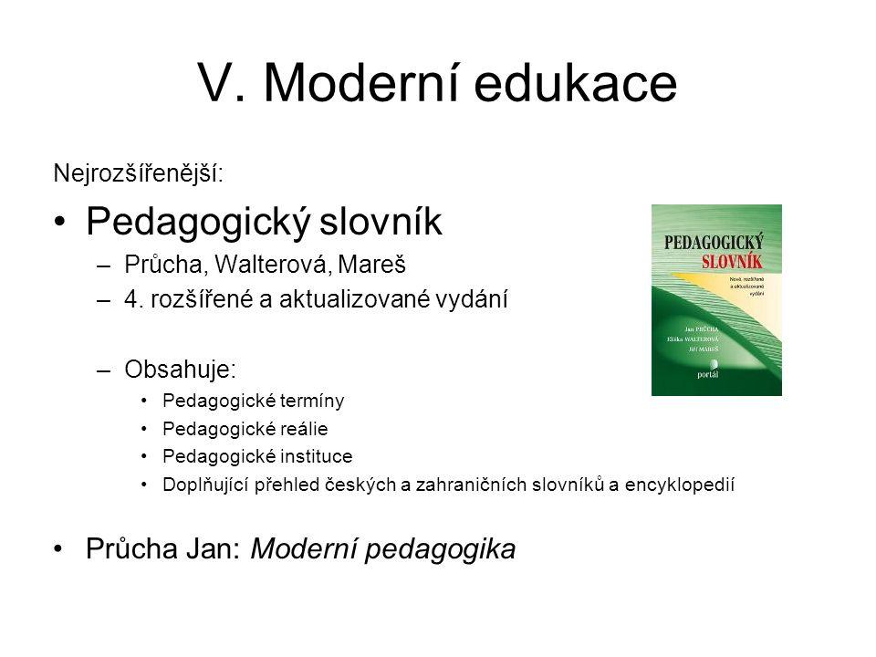 V. Moderní edukace Pedagogický slovník Průcha Jan: Moderní pedagogika