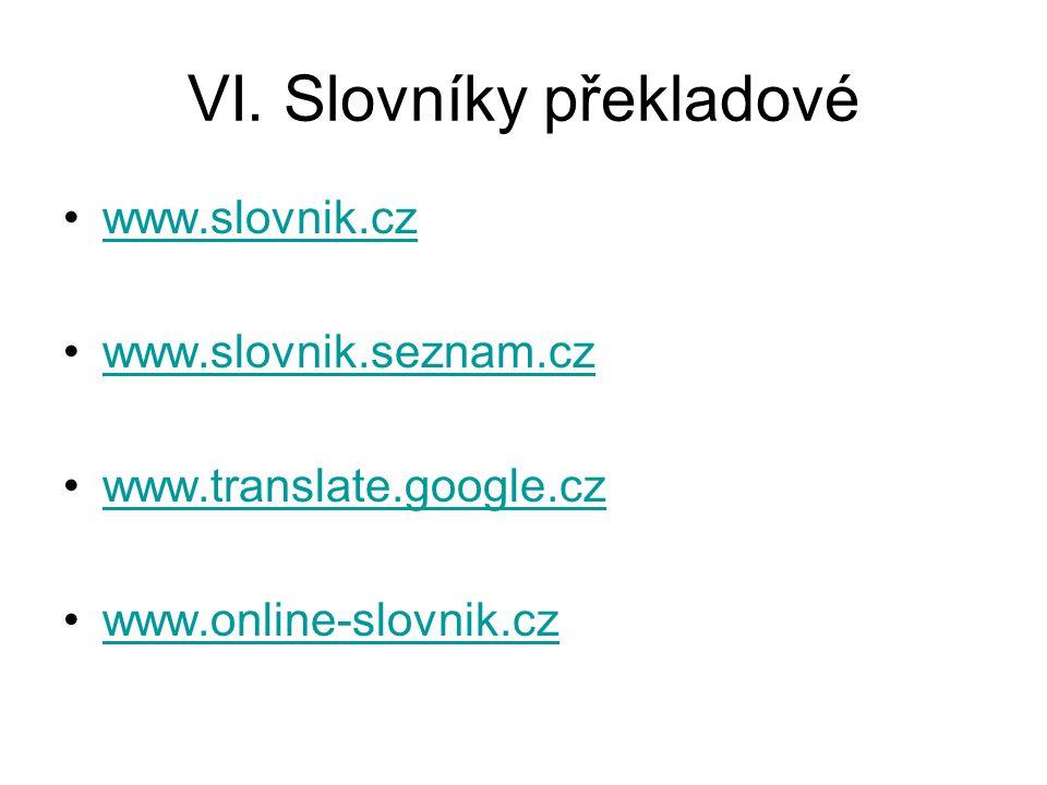 VI. Slovníky překladové