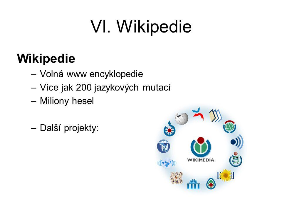 VI. Wikipedie Wikipedie Volná www encyklopedie