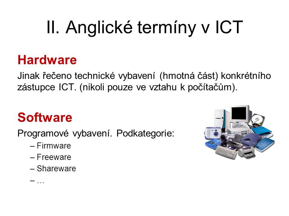 II. Anglické termíny v ICT