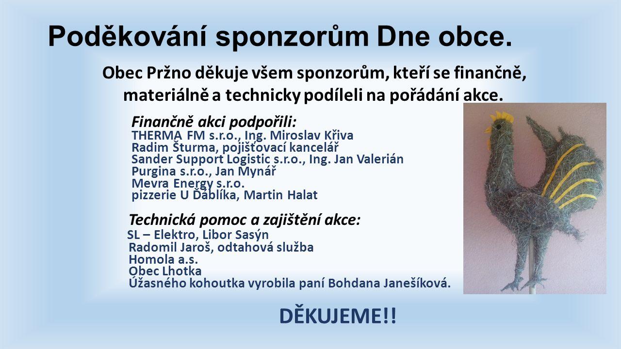 Poděkování sponzorům Dne obce.