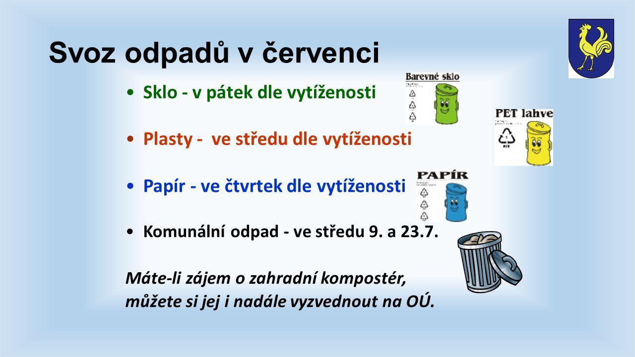 Svoz odpadů v červenci Sklo - v pátek dle vytíženosti