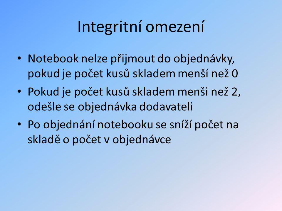 Integritní omezení Notebook nelze přijmout do objednávky, pokud je počet kusů skladem menší než 0.