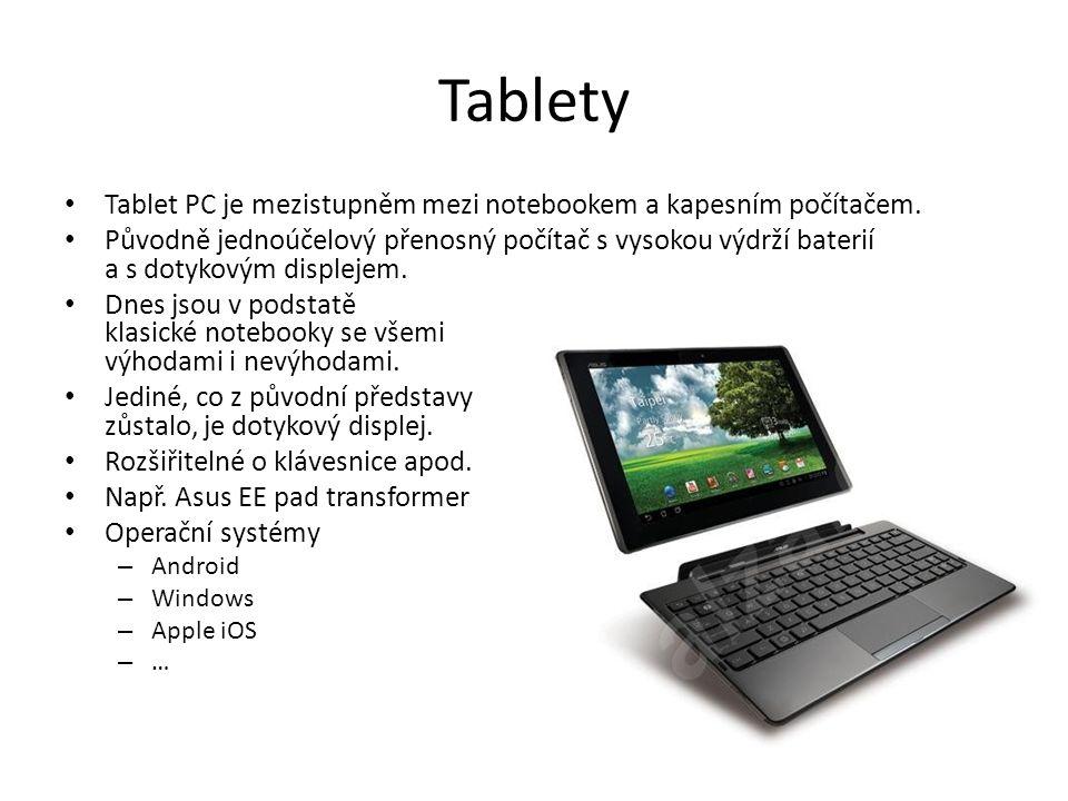 Tablety Tablet PC je mezistupněm mezi notebookem a kapesním počítačem.