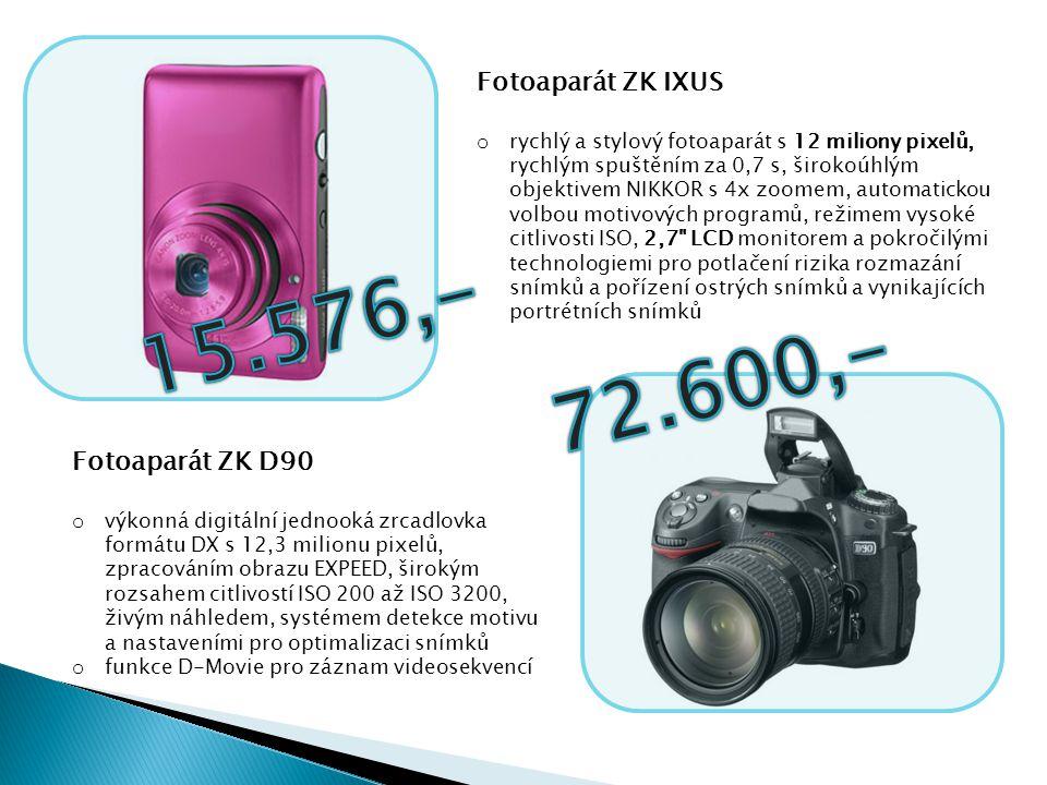 15.576,- 72.600,- Fotoaparát ZK IXUS Fotoaparát ZK D90