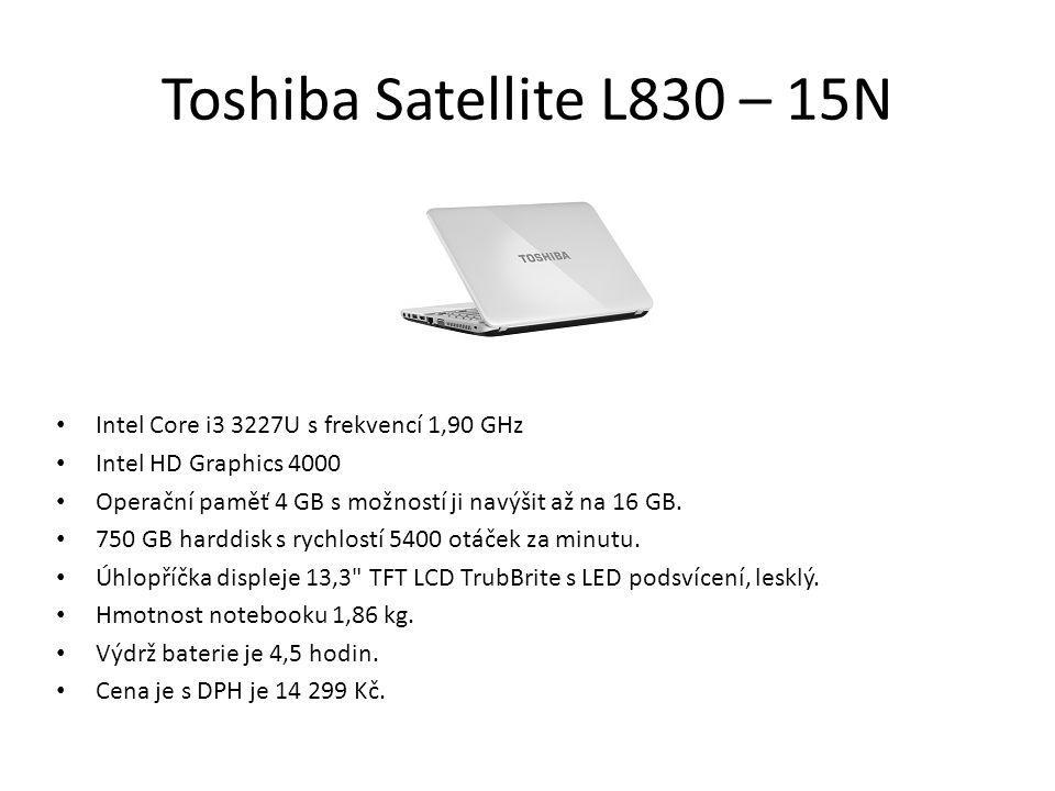 Toshiba Satellite L830 – 15N Intel Core i3 3227U s frekvencí 1,90 GHz