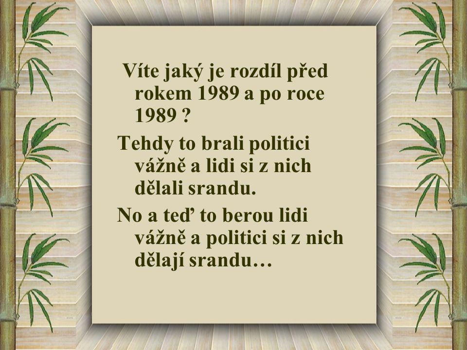 Víte jaký je rozdíl před rokem 1989 a po roce 1989