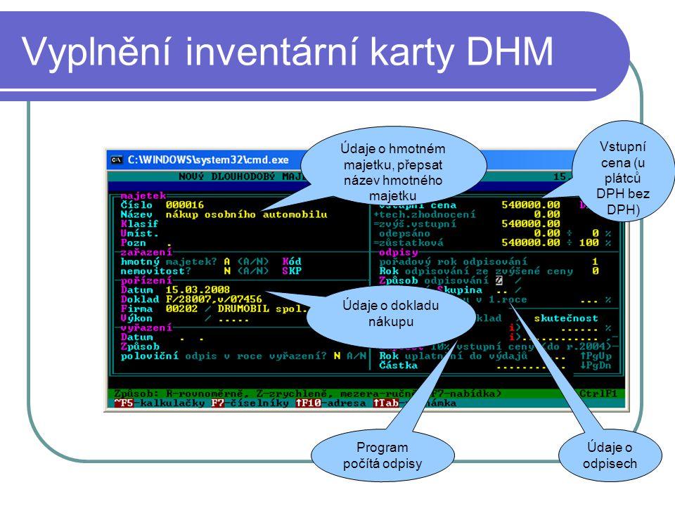 Vyplnění inventární karty DHM