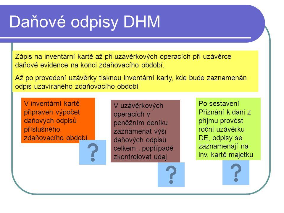 Daňové odpisy DHM Zápis na inventární kartě až při uzávěrkových operacích při uzávěrce daňové evidence na konci zdaňovacího období.
