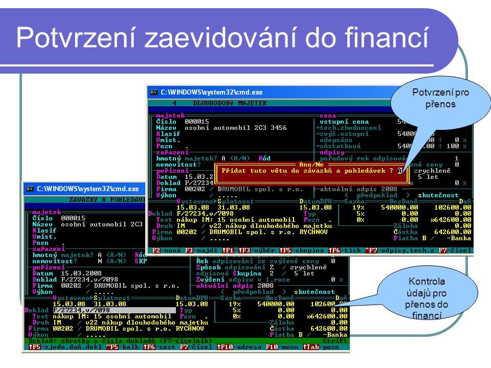 Potvrzení zaevidování do financí