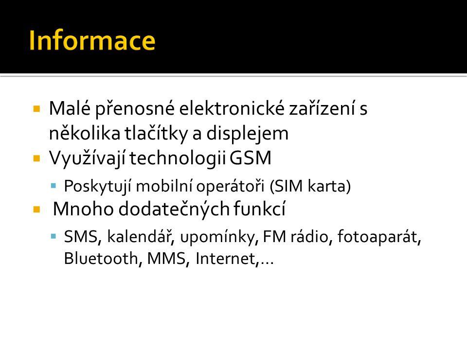 Informace Malé přenosné elektronické zařízení s několika tlačítky a displejem. Využívají technologii GSM.