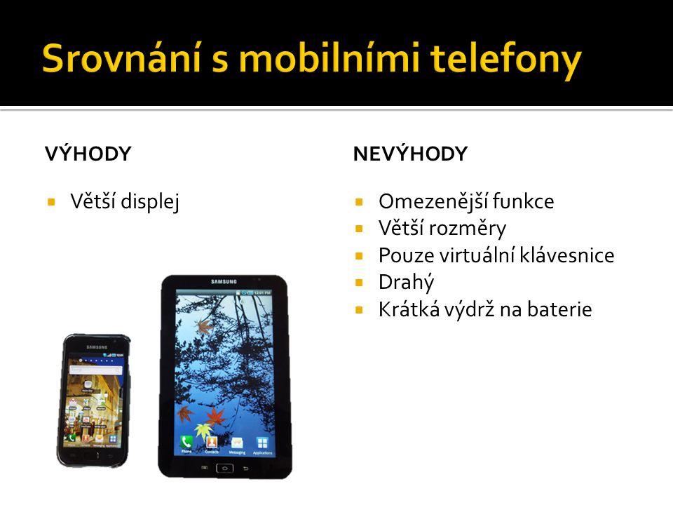 Srovnání s mobilními telefony
