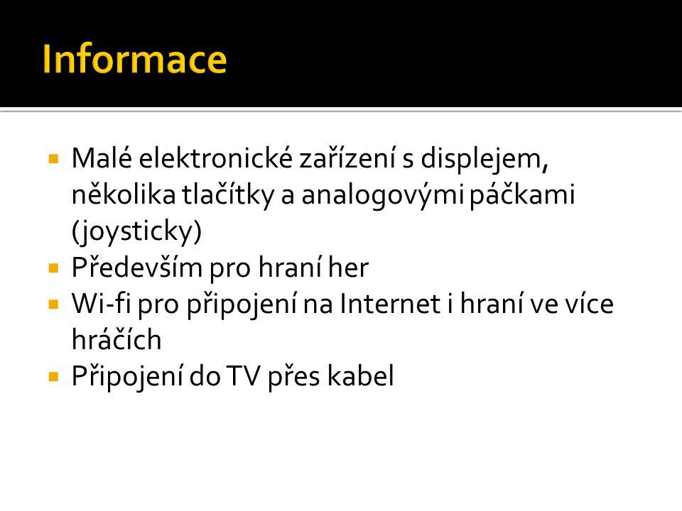 Informace Malé elektronické zařízení s displejem, několika tlačítky a analogovými páčkami (joysticky)