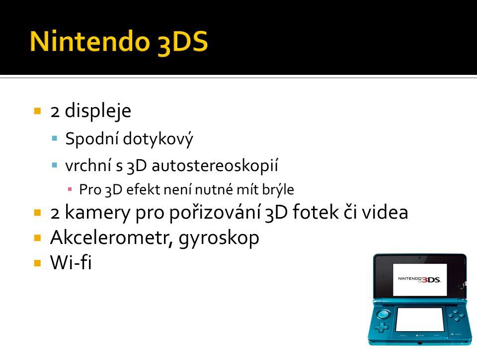 Nintendo 3DS 2 displeje 2 kamery pro pořizování 3D fotek či videa