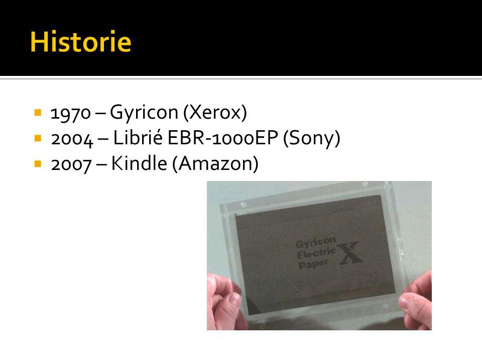 Historie 1970 – Gyricon (Xerox) 2004 – Librié EBR-1000EP (Sony)