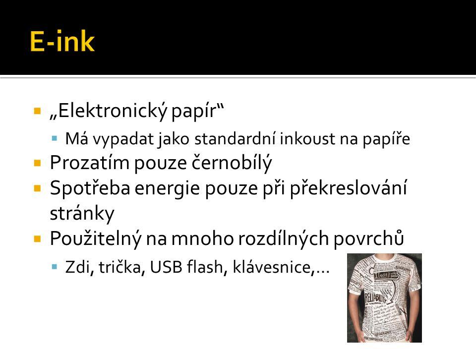 """E-ink """"Elektronický papír Prozatím pouze černobílý"""
