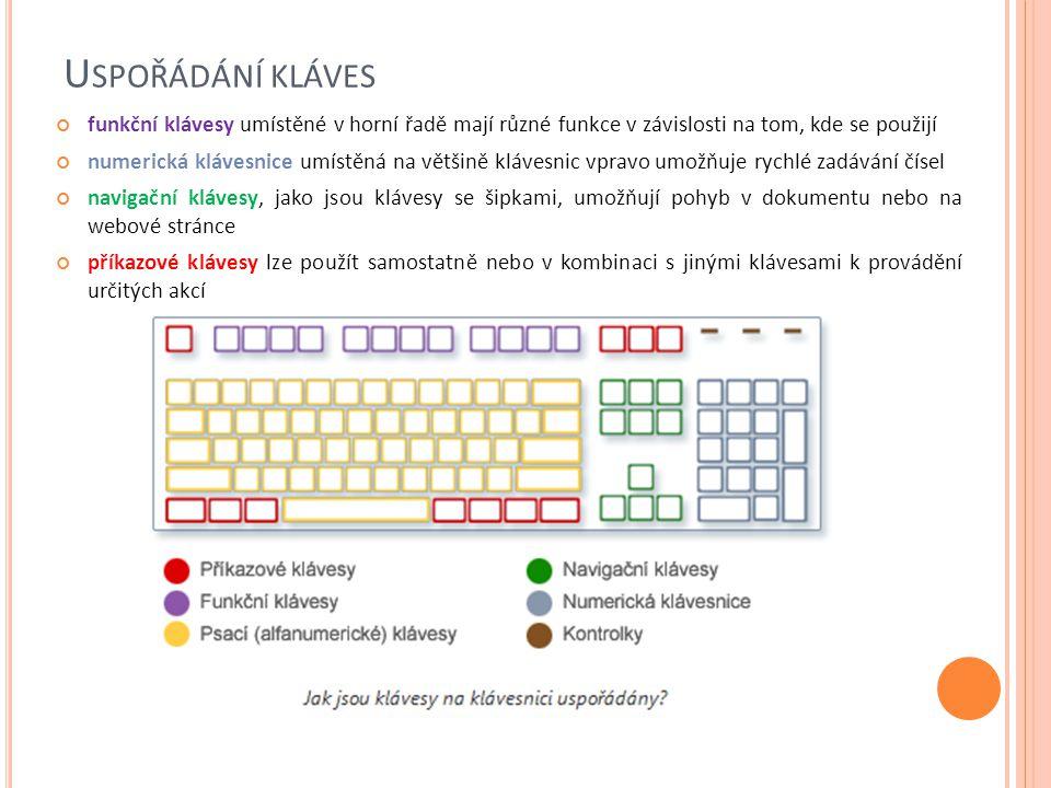 Uspořádání kláves funkční klávesy umístěné v horní řadě mají různé funkce v závislosti na tom, kde se použijí.
