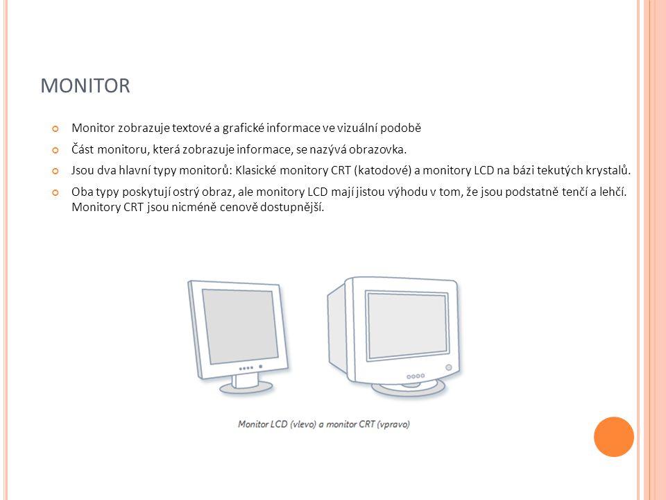 monitor Monitor zobrazuje textové a grafické informace ve vizuální podobě. Část monitoru, která zobrazuje informace, se nazývá obrazovka.