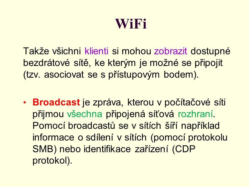 WiFi Takže všichni klienti si mohou zobrazit dostupné bezdrátové sítě, ke kterým je možné se připojit (tzv. asociovat se s přístupovým bodem).