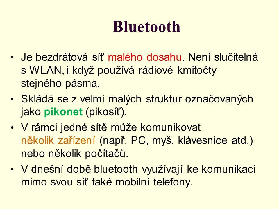 Bluetooth Je bezdrátová síť malého dosahu. Není slučitelná s WLAN, i když používá rádiové kmitočty stejného pásma.