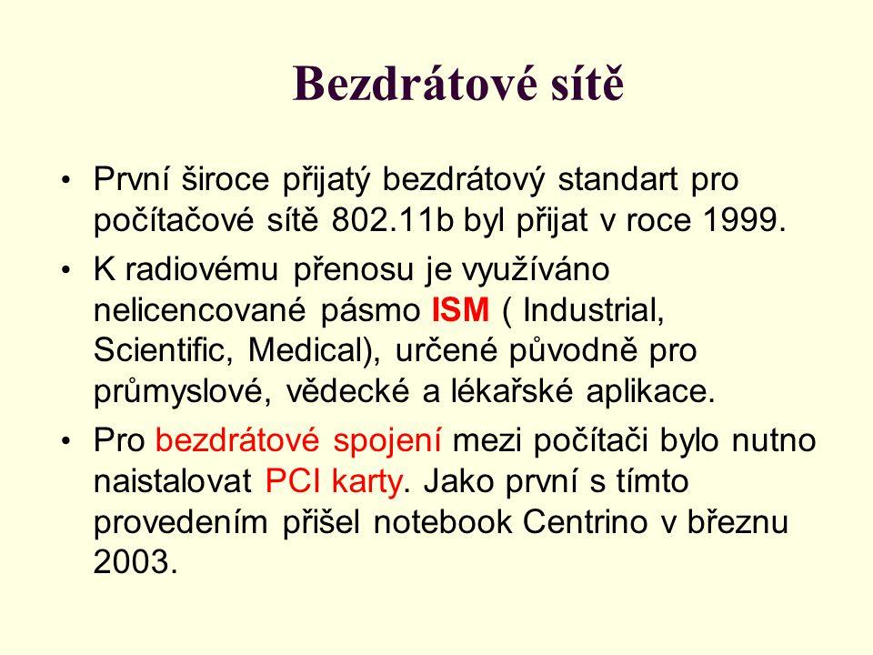 Bezdrátové sítě První široce přijatý bezdrátový standart pro počítačové sítě 802.11b byl přijat v roce 1999.