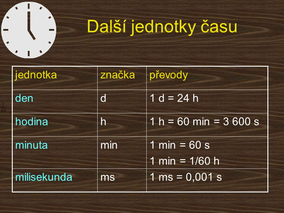 Další jednotky času jednotka značka převody den d 1 d = 24 h hodina h