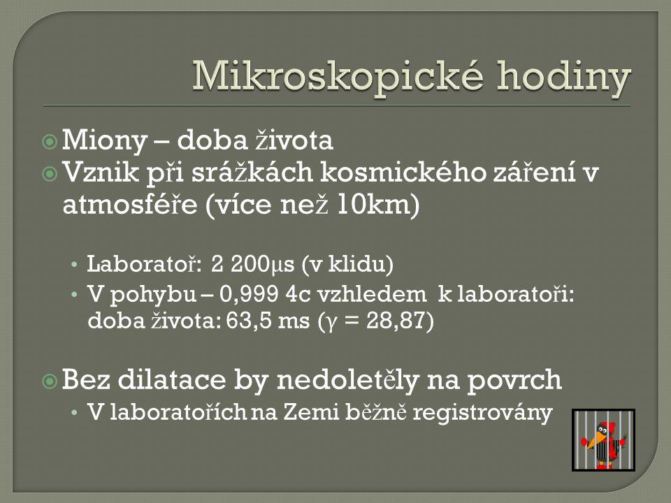 Mikroskopické hodiny Miony – doba života