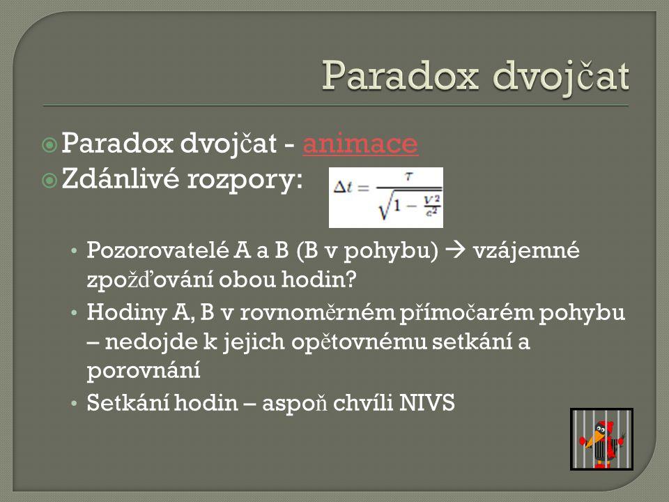 Paradox dvojčat Paradox dvojčat - animace Zdánlivé rozpory: