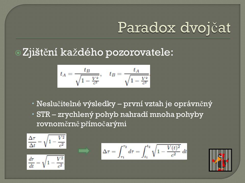 Paradox dvojčat Zjištění každého pozorovatele: