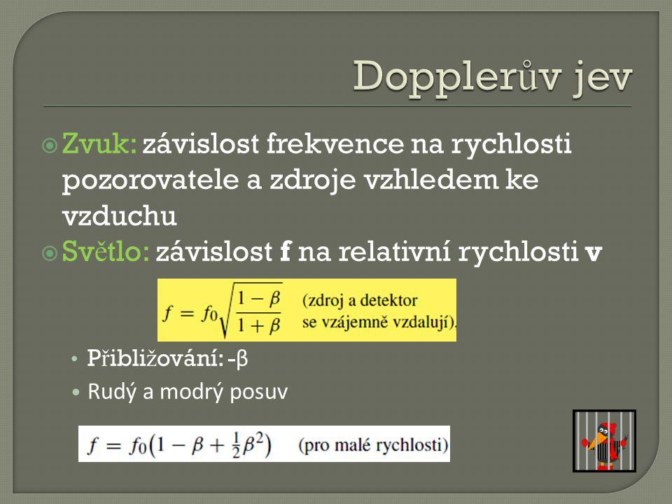 Dopplerův jev Zvuk: závislost frekvence na rychlosti pozorovatele a zdroje vzhledem ke vzduchu. Světlo: závislost f na relativní rychlosti v.