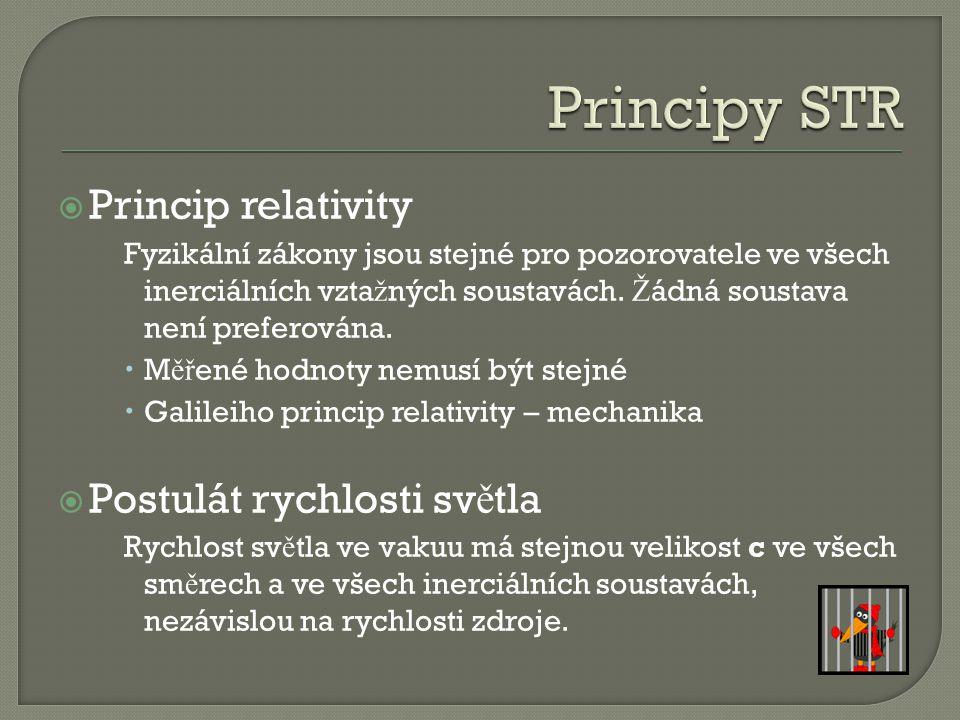 Principy STR Princip relativity Postulát rychlosti světla