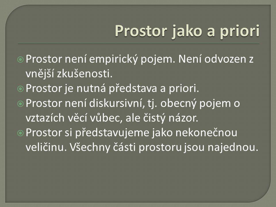 Prostor jako a priori Prostor není empirický pojem. Není odvozen z vnější zkušenosti. Prostor je nutná představa a priori.