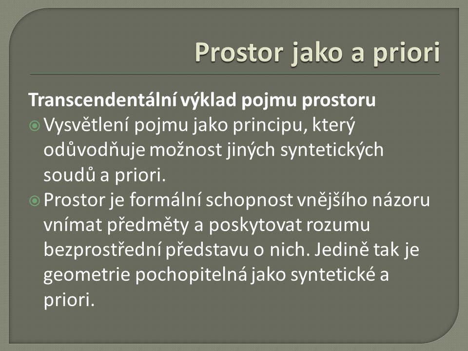 Prostor jako a priori Transcendentální výklad pojmu prostoru