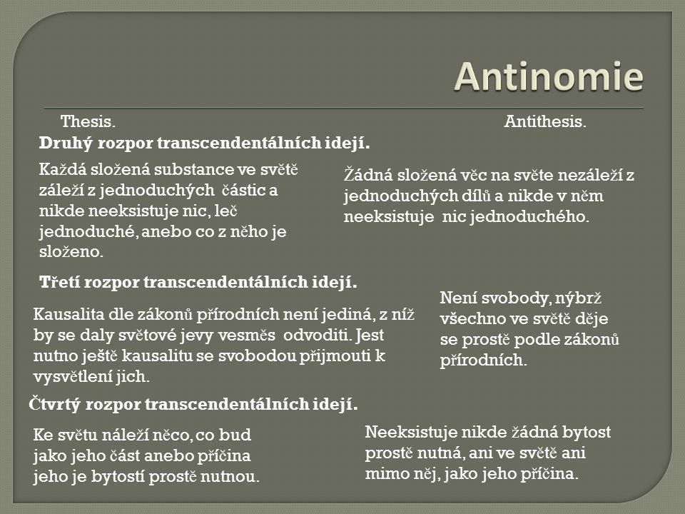 Antinomie Thesis. Antithesis. Druhý rozpor transcendentálních idejí.