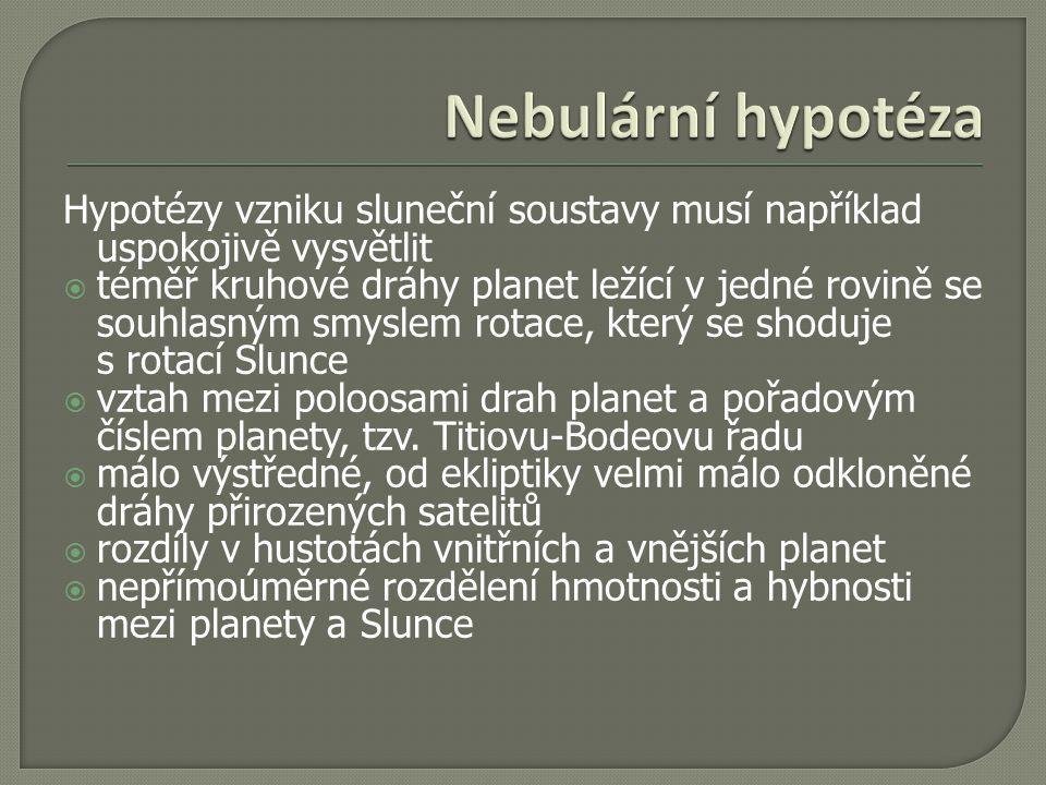 Nebulární hypotéza Hypotézy vzniku sluneční soustavy musí například uspokojivě vysvětlit.