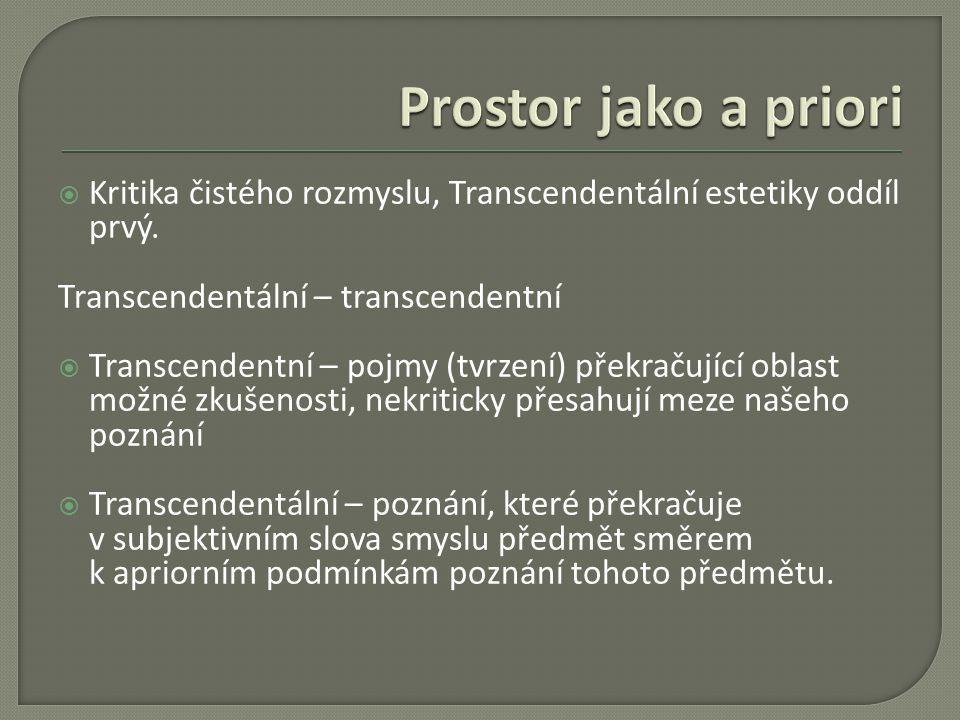 Prostor jako a priori Kritika čistého rozmyslu, Transcendentální estetiky oddíl prvý. Transcendentální – transcendentní.