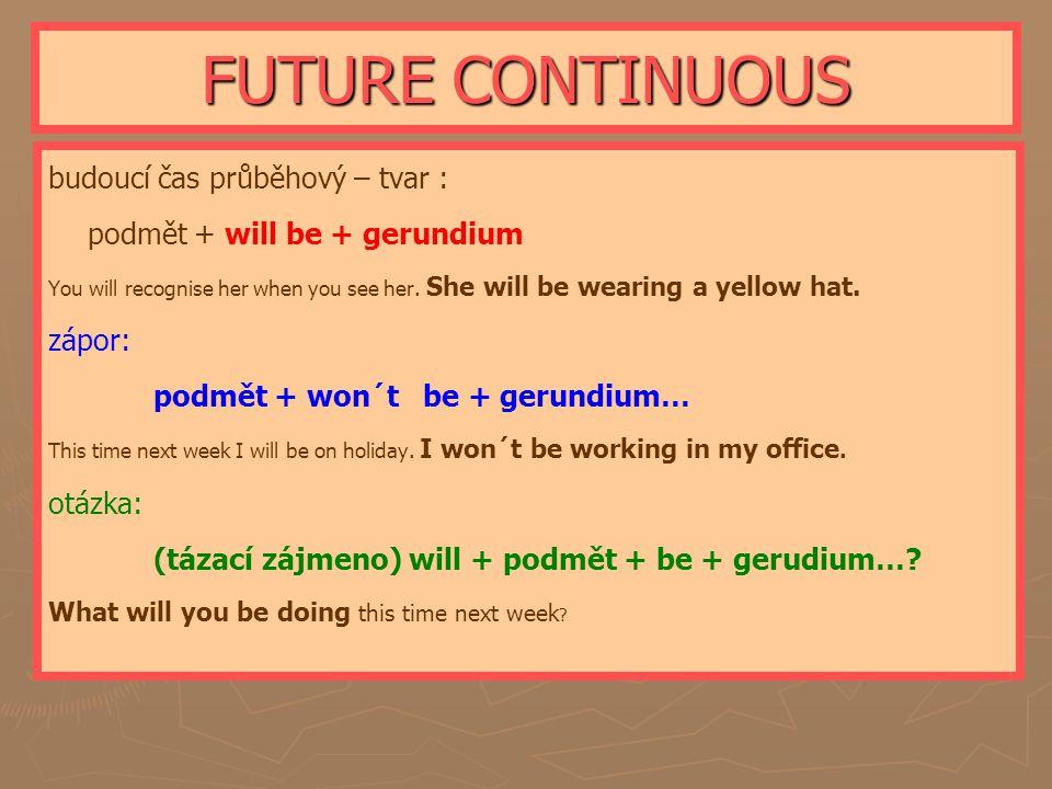 FUTURE CONTINUOUS budoucí čas průběhový – tvar :