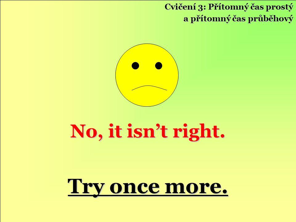 Try once more. No, it isn't right. Cvičení 3: Přítomný čas prostý