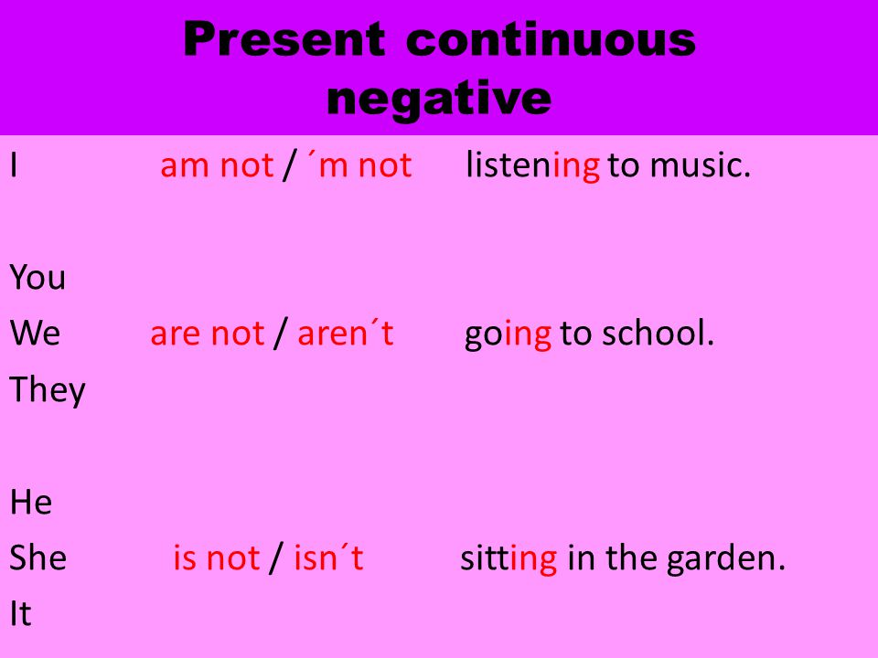 Present continuous negative